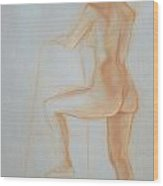 Side Profile Of Woman Standing Wood Print