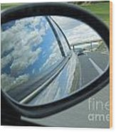 Side-view Mirror Reflecting Clouds Wood Print