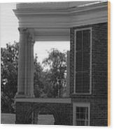 Side View South Portico Bw Wood Print