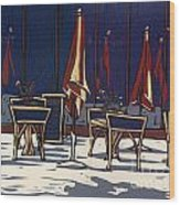 Sidewalk Cafe - Linocut Print Wood Print by Annie Laurie
