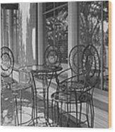 Sidewalk Cafe - Afternoon Shadows Wood Print by Suzanne Gaff
