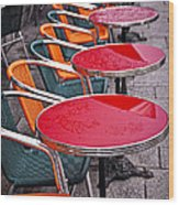 Sidewalk Cafe In Paris Wood Print