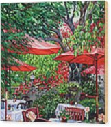 Sidewalk Cafe Wood Print