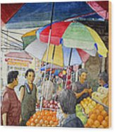 Sidewalk Vendors Wood Print