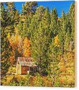 Sierra Nevada Rustic Americana Barn With Aspen Fall Color Wood Print