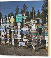 Sign Posts Forest In Watson Lake Yukon Wood Print by Mark Duffy