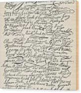 Signatures Attached To The American Declaration Of Independence Of 1776 Wood Print