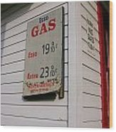 Signs On A Historic Gas Station Offer Wood Print