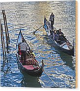 Silently Drifting Gondolas Wood Print