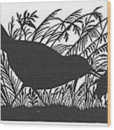 Silhouette: Bird & Insect Wood Print