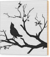 Silhouette Bird On Branch - To License For Professional Use Visit Granger.com Wood Print