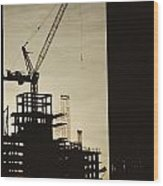 Silhouette Crane At A Skyscraper Wood Print