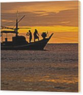 Silhouette Fisherman Boat Sunset Huahin Thailand Wood Print by Arthit Somsakul