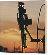 Silhouette Of A M240g Medium Machine Wood Print by Terry Moore