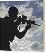 Silhouette Of A Soldier Wood Print