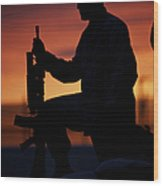 Silhouette Of A U.s Marine On A Bunker Wood Print