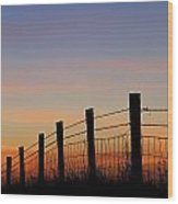 Silhouette Of Barbed Wire Fence Wood Print