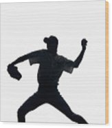 Silhouette Of Baseball Pitcher About To Pitch Wood Print