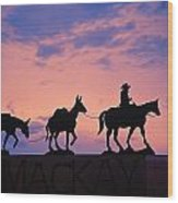Silhouette Of Donkey Train Statue Wood Print