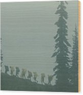 Silhouette Of Girl Scouts Wood Print