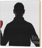 Silhouette Of Man Holding Heart And Rose Wood Print