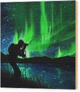 Silhouette Of Photographer Shooting Stars Wood Print