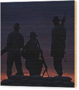 Silhouette Of U.s Marines On A Bunker Wood Print