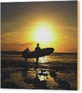 Silhouette Surfers Wood Print