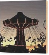 Silhouetted Amusement Ride Wood Print