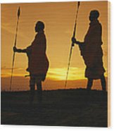 Silhouetted Laikipia Masai Guides Wood Print