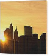 Silhouetted Manhattan  Wood Print