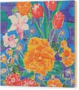 Silk Blooming Flowers Wood Print by Sandra Fox