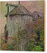 Silo In Overgrowth Wood Print