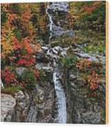 Silver Cascades Surrounded By Colors Wood Print