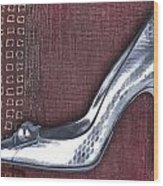 Silver Crocodile Pump Wood Print