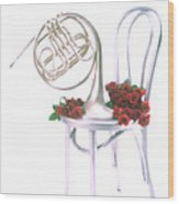 Silver French Horn On Silver Chair Wood Print