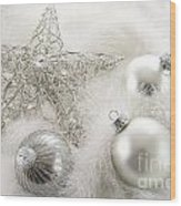 Silver Holiday Ornaments In Feathers Wood Print