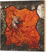 Silver Metal Flower On Orange Wood Print