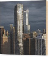 Silvery City Gloom Wood Print