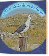 Singing Seagull Christmas Card Wood Print