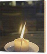 Single Candle Flame, Defocussed Wood Print
