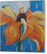 Single Cornflower Wood Print