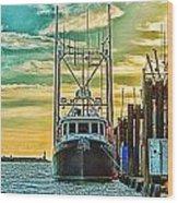 Single Fish Boat Hdr Wood Print