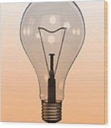 Single Light Bulb On Coloured Background Wood Print