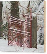 Single Red Gate Wood Print