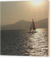 Single Sailboat Wood Print