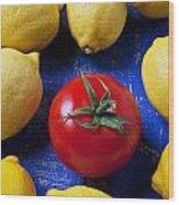 Single Tomato With Lemons Wood Print