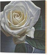 Single White Rose Wood Print