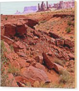 Sinkhole In Monument Valley Wood Print