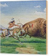 Sioux Hunting Buffalo On Decorated Pony Wood Print